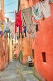 Italian street - Laundry hanged up royalty free stock photo