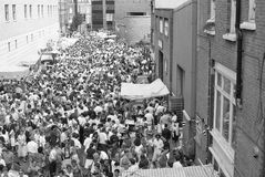 Italian street party, Clerkenwell. The Italian street party in Warner Street, Clerkenwell, London on July 21, 1990. The event follows the annual Catholic royalty free stock images