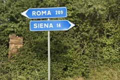 Italian street signs pointing. Royalty Free Stock Photography