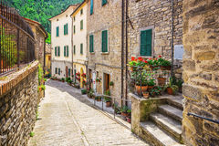 Italian street in a small provincial town of Tuscan Stock Photos