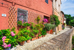 Italian street in a small provincial town of Tuscan Royalty Free Stock Photos
