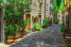 Italian street in a small provincial town of Tuscan Royalty Free Stock Images
