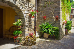 Italian street in a small provincial town of Tuscan Royalty Free Stock Photo