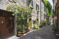 Italian street in a small provincial town of Tuscan Royalty Free Stock Image