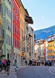 Italian street in Trento Royalty Free Stock Photos