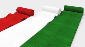 Italian style. 3d image of red green white italian carpet stock illustration
