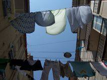 Italian Style. Drying washing in this way is quite common in Naples Stock Photo