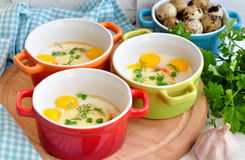 Italian style, Eggs baked with mozzarella and green onion, Stock Photo