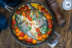 Italian style sea bream in crazy water -  acqua pazza Royalty Free Stock Photography