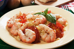 Italian style shrimps with tomato sauce and rice Royalty Free Stock Images