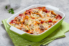 Italian style stuffed pasta shells. With meat Royalty Free Stock Photos