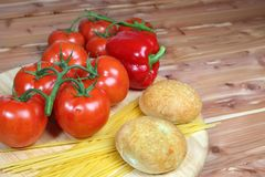 Italian style vegetable ingredients with linguine Stock Photos