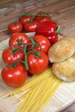 Italian style vegetable ingredients with linguine royalty free stock image