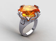 Italian style white gold orange sapphire ring Royalty Free Stock Photos