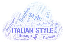 Italian Style word cloud. Wordcloud made with text only vector illustration