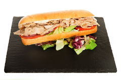 Italian Sub Long Baguette with Ham Cheese Tomato and Lettuce Stock Image