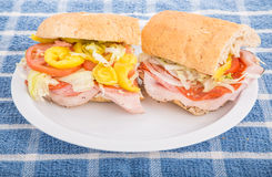 Italian Sub Sandwich with Hot Peppers Stock Photos