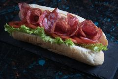 Italian submarine sandwich. With cured meat, lettuce and tomato Stock Photos