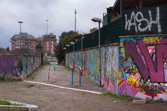 Italian suburbs in rome, italy. View of street art in italian suburbs in rome, italy Royalty Free Stock Photos