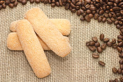 Italian sugar biscuit cookies with coffee beans on sacking Royalty Free Stock Photography