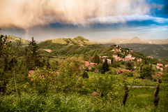 Italian summer landscape of a small village in the Appenine Royalty Free Stock Photography