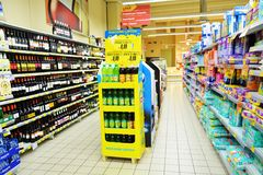 Italian supermarket, indoors Royalty Free Stock Images