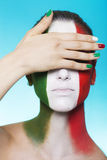 Italian supporter for FIFA 2014 covering her eyes. Beautiful italian supporter for FIFA World Cup Brazil 2014 covering her eyes Stock Photo
