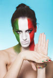 Italian supporter for FIFA 2014 gesturing Royalty Free Stock Photos