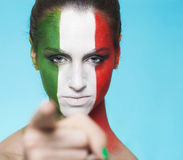 Italian Supporter For FIFA 2014 Pointing Out Royalty Free Stock Photography