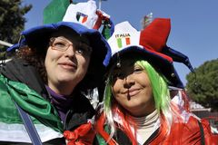 Italian supporters at RBS 6 Nations Royalty Free Stock Photo