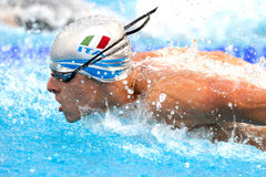 Italian Swimmer. An individual butterfly man in LEN Budapest 2010 Swimming Championships: Niccolò Beni Stock Photography