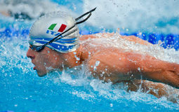 Italian Swimming Team. An unidentified italian swimmer at European Swimming Championships LEN 2010 on August 15, 2010, in Budapest ( Hungary Stock Image
