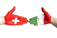 Italian and swiss handshake Stock Photography