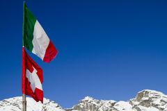 Italian and switzerland flags Royalty Free Stock Image