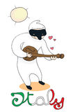 Italian symbol: Pulcinella. Pulcinella, a typical italian mask, plays mandolin. Digital illustration isolated on a white background, with writing Italy Royalty Free Stock Image