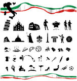 ITALIAN symbol set with flag Royalty Free Stock Images