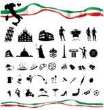 ITALIAN symbol set with flag. On white Royalty Free Stock Images