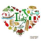 Italian symbols in heart shape concept. Colorful sketch collection of Italian symbols. Heart shape concept. Travel background Stock Photography
