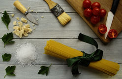 Italian table. Itlian tipical and traditional food Royalty Free Stock Images