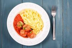 Italian Tagliatelle Pasta With Harissa Turkey Meatballs Royalty Free Stock Image