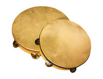 Italian tambourines. Tambourines traditional southern Italy made from wood goat skin and metal bells - frame drum used to play tarantella and italian popular Stock Image