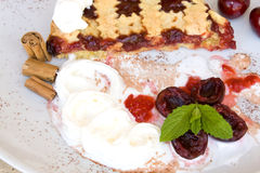 Italian Tart With Sour Cherry Jam. Food & Drinks - Slice of tart with sour cherry jam Stock Photography