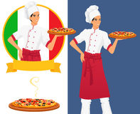 Italian tasty pizza and man chef Royalty Free Stock Image