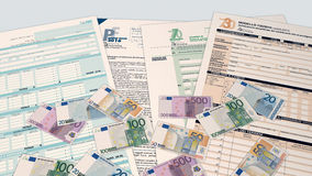 Italian taxes concept. Top view of forms for italian taxes and some euro banknotes (3d render Royalty Free Stock Photos