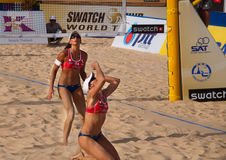Italian Team Emotions 2010 final. Photo could be used to cover story about recent event in Phuket http://www.fivb.ch/EN/BeachVolleyball/Competitions/WorldTour/ Royalty Free Stock Photo