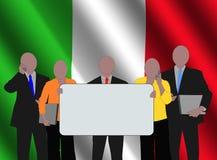 Italian team with flag Stock Photography