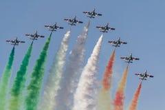 The Italian team Frecce Tricolori. The Italian demonstration team Frecce Tricolori Stock Image