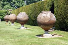 Italian terracotta contianers, Hever castle garden, UK Stock Photos