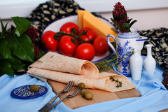 Italian thin pita bread on a board still life Royalty Free Stock Image