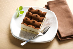 Italian tiramisu dessert stock photos